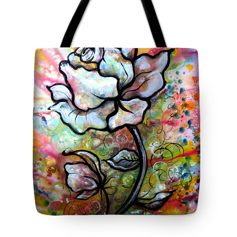Art Tote Bag featuring the painting Ethereal Rose by Shadia Derbyshire