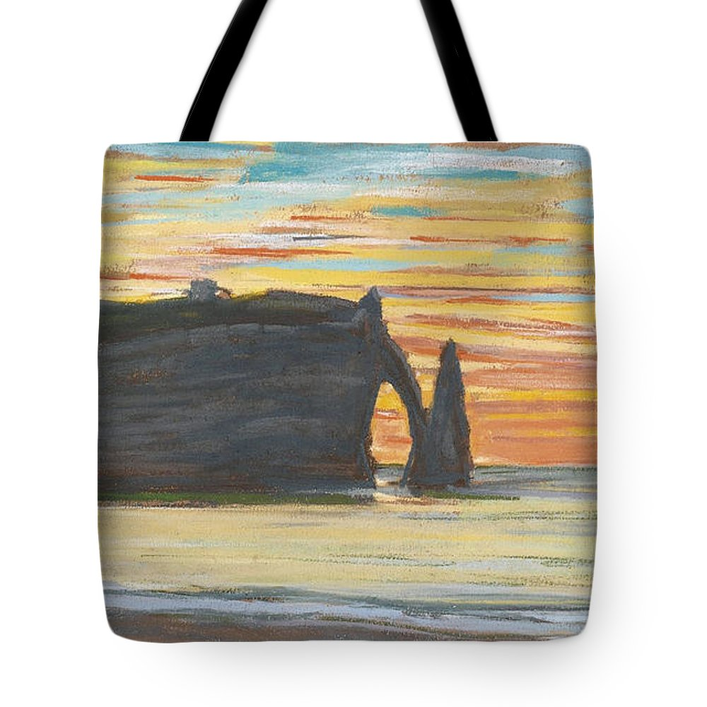 Claude Monet Tote Bag featuring the painting Etretat. Cliff Of Aval by Claude Monet