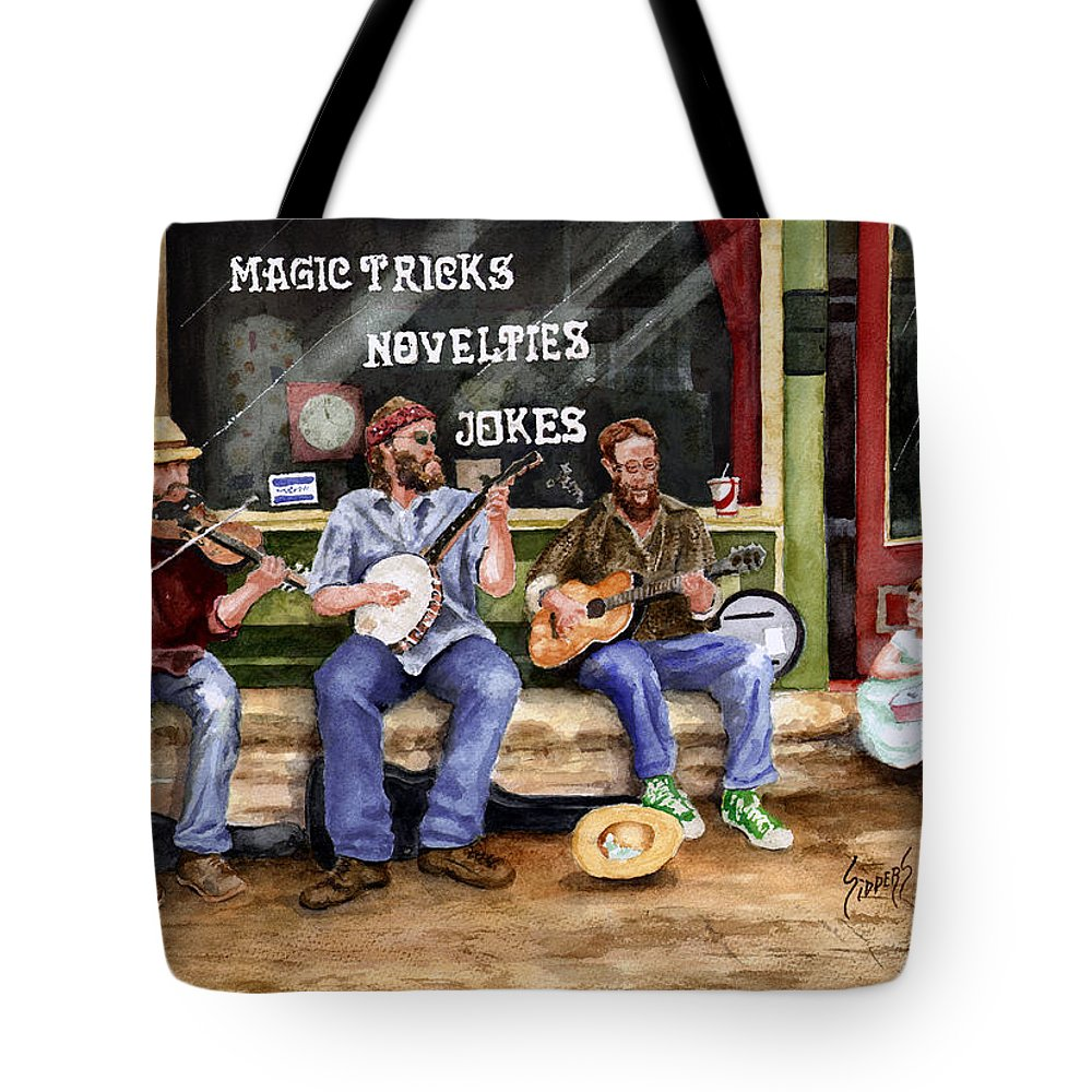Banjo Tote Bag featuring the painting Eureka Springs Novelty Shop String Quartet by Sam Sidders