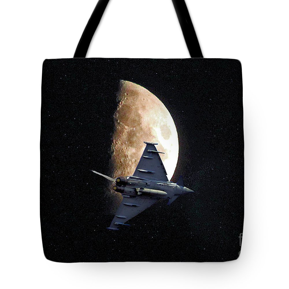 Moon Tote Bag featuring the photograph Eurofighter Against A Harvest Moon by Peter McHallam