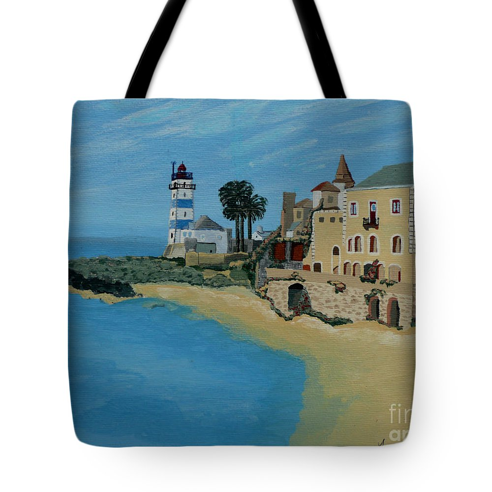 Lighthouse Tote Bag featuring the painting European Lighthouse by Anthony Dunphy