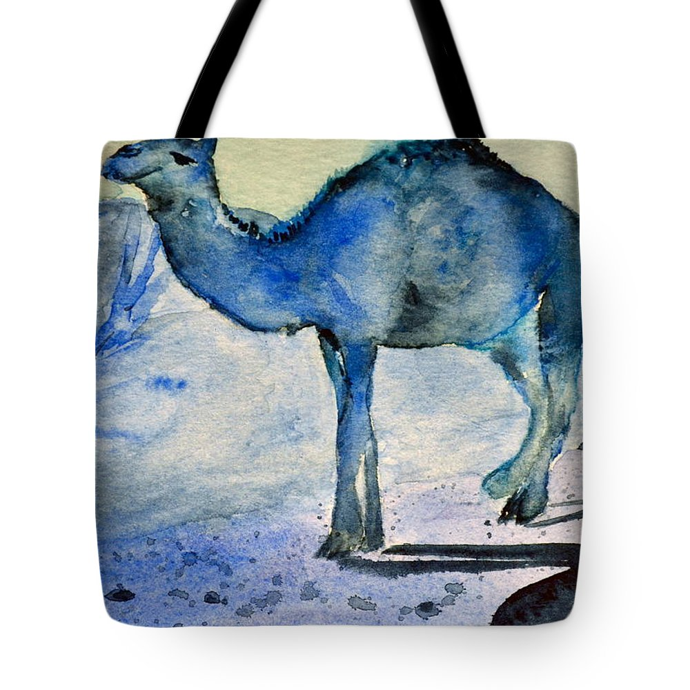 Camel Tote Bag featuring the painting Even Camels Get The Blues by Beverley Harper Tinsley