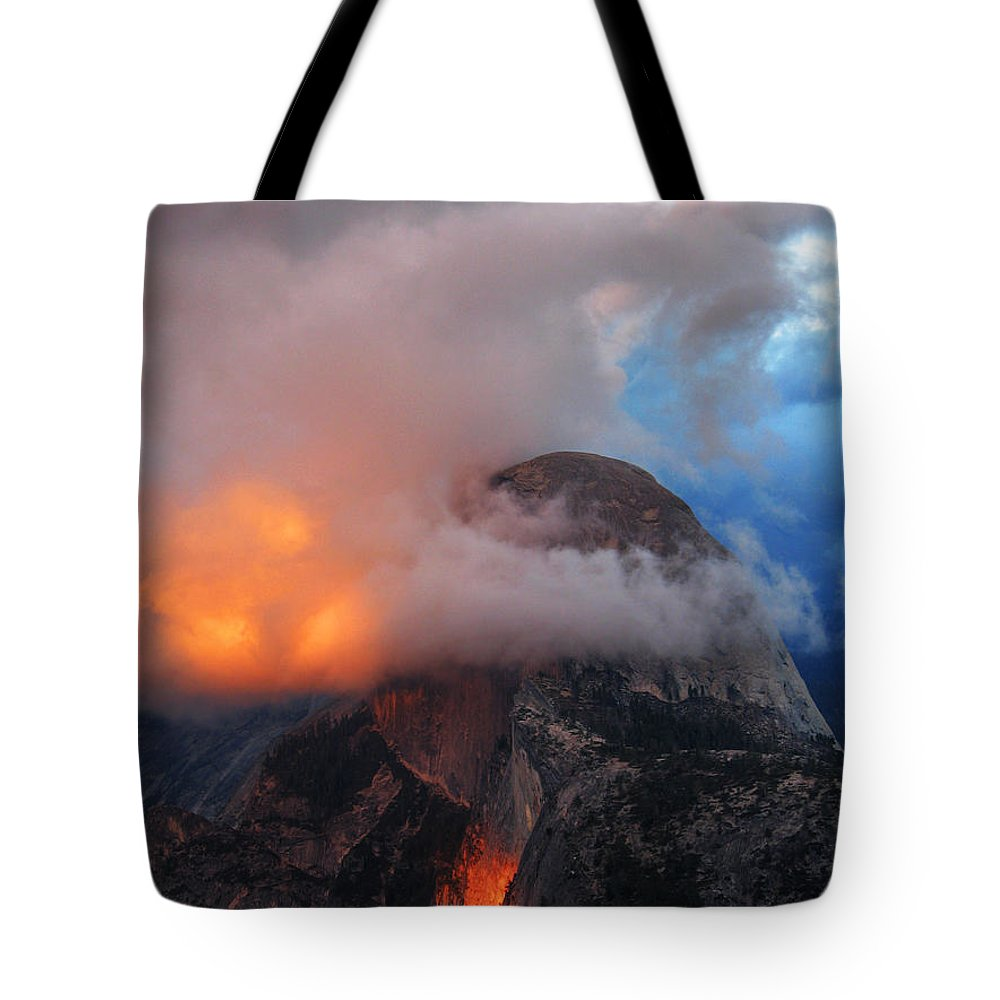 Half Dome Tote Bag featuring the photograph Evening Glow On Half Dome In Yosemite by Greg Matchick