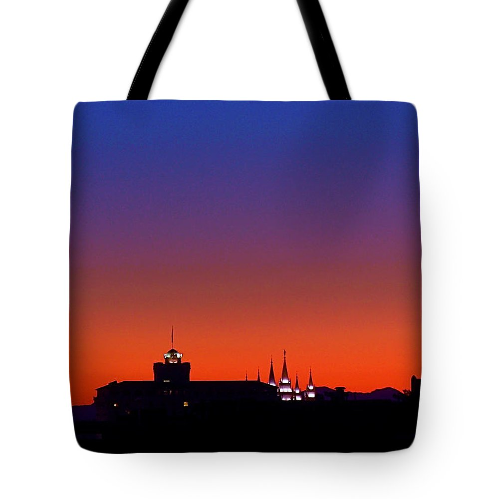 Salt Lake Temple Tote Bag featuring the photograph Evening Glow by Rona Black