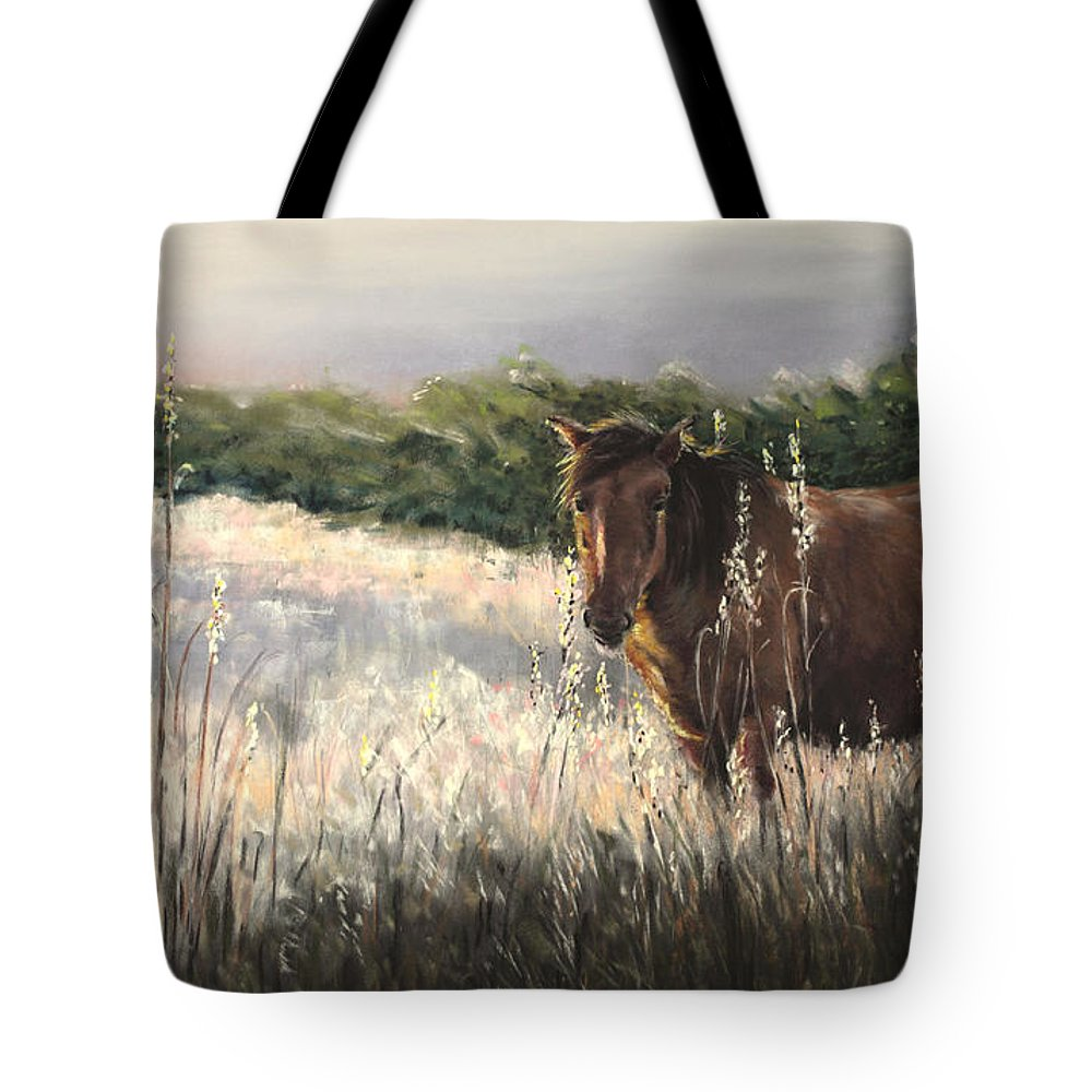 Wild Tote Bag featuring the painting Evening Glow by Sandy Brooks