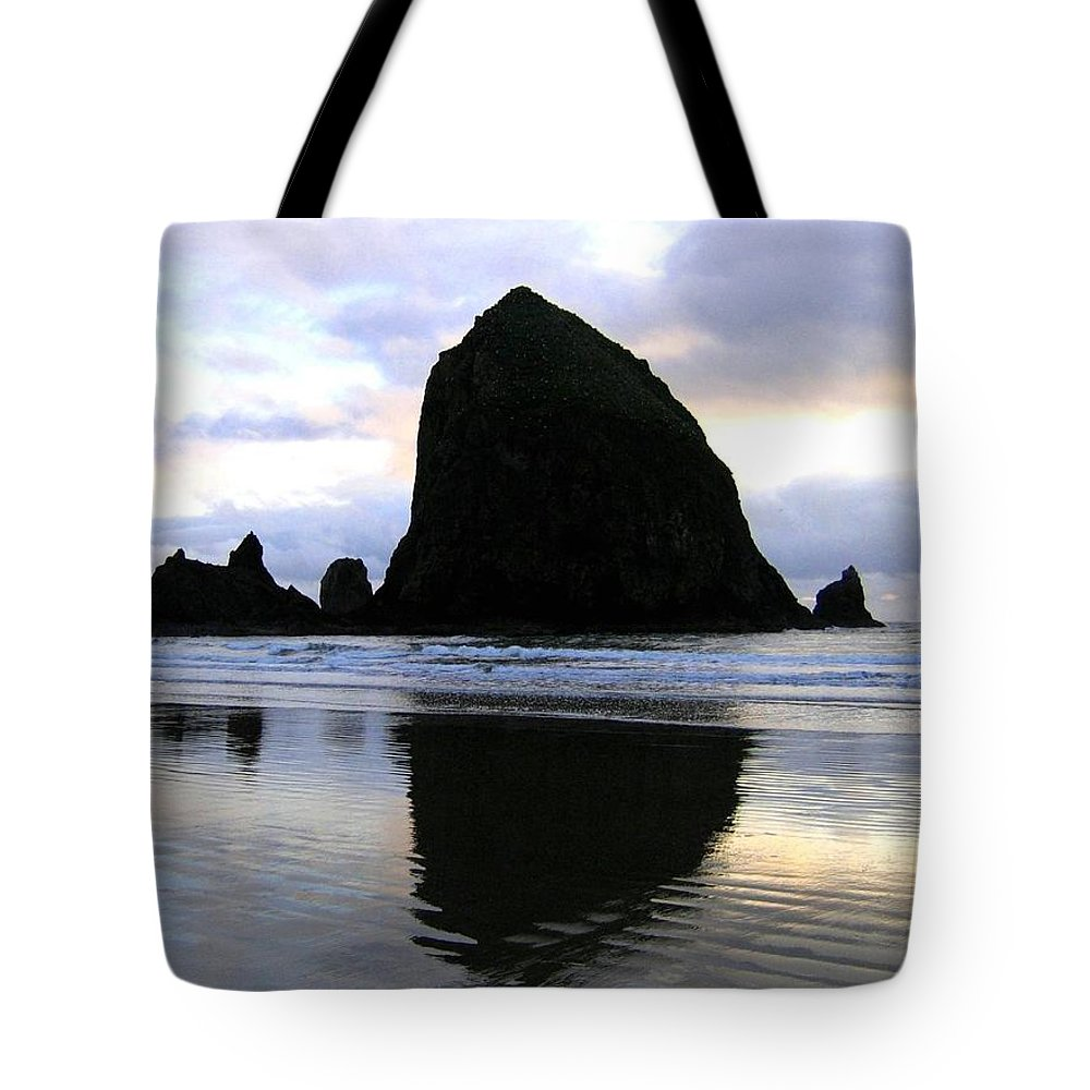 Haystack Rock Tote Bag featuring the photograph Evening Luster by Will Borden