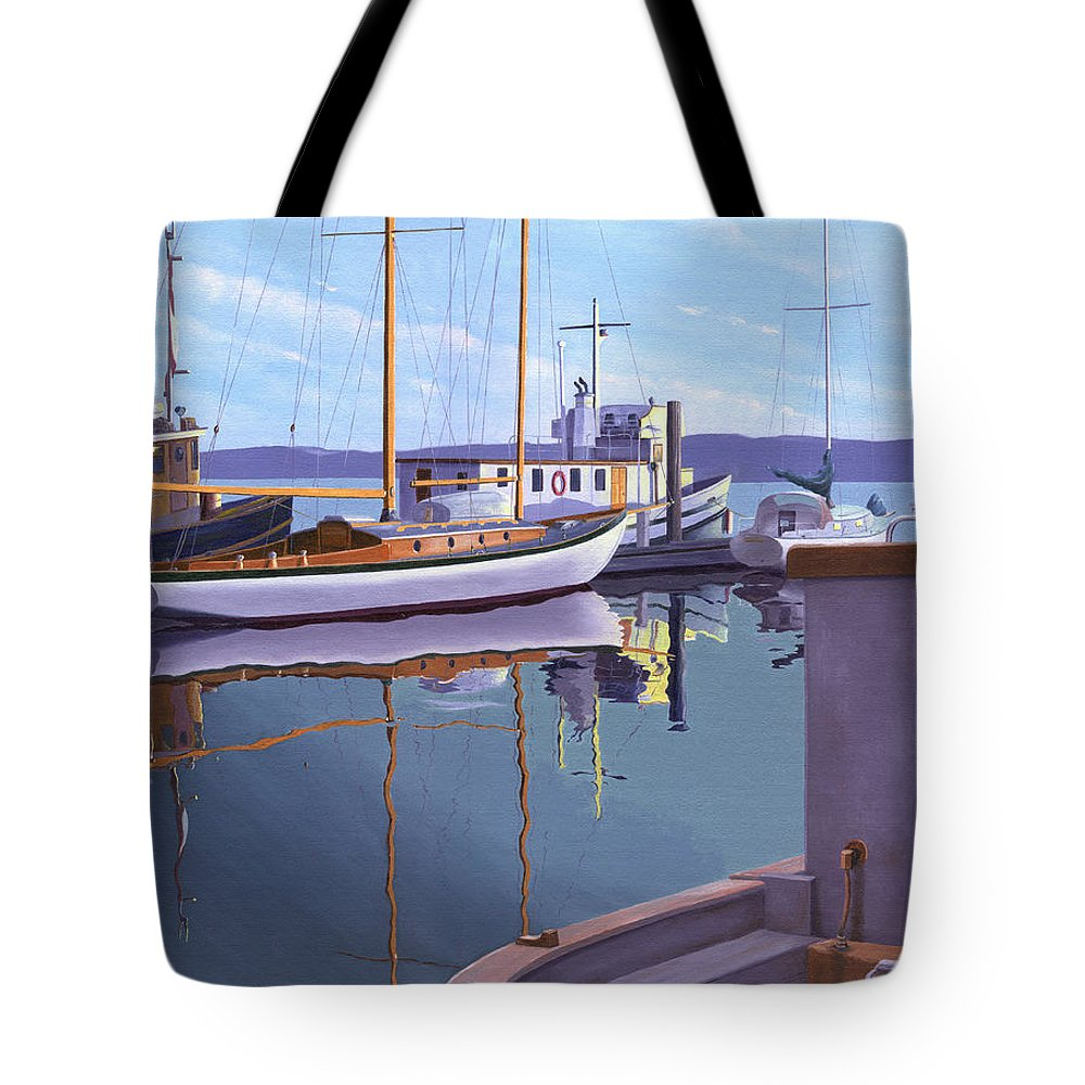 Schooner Tote Bag featuring the painting Evening On Malaspina Strait by Gary Giacomelli