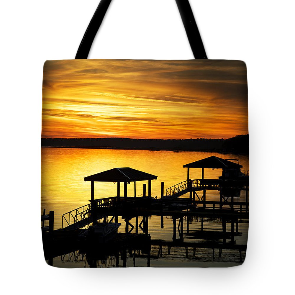 Beaufort County Tote Bag featuring the photograph Evening On The May by Phill Doherty