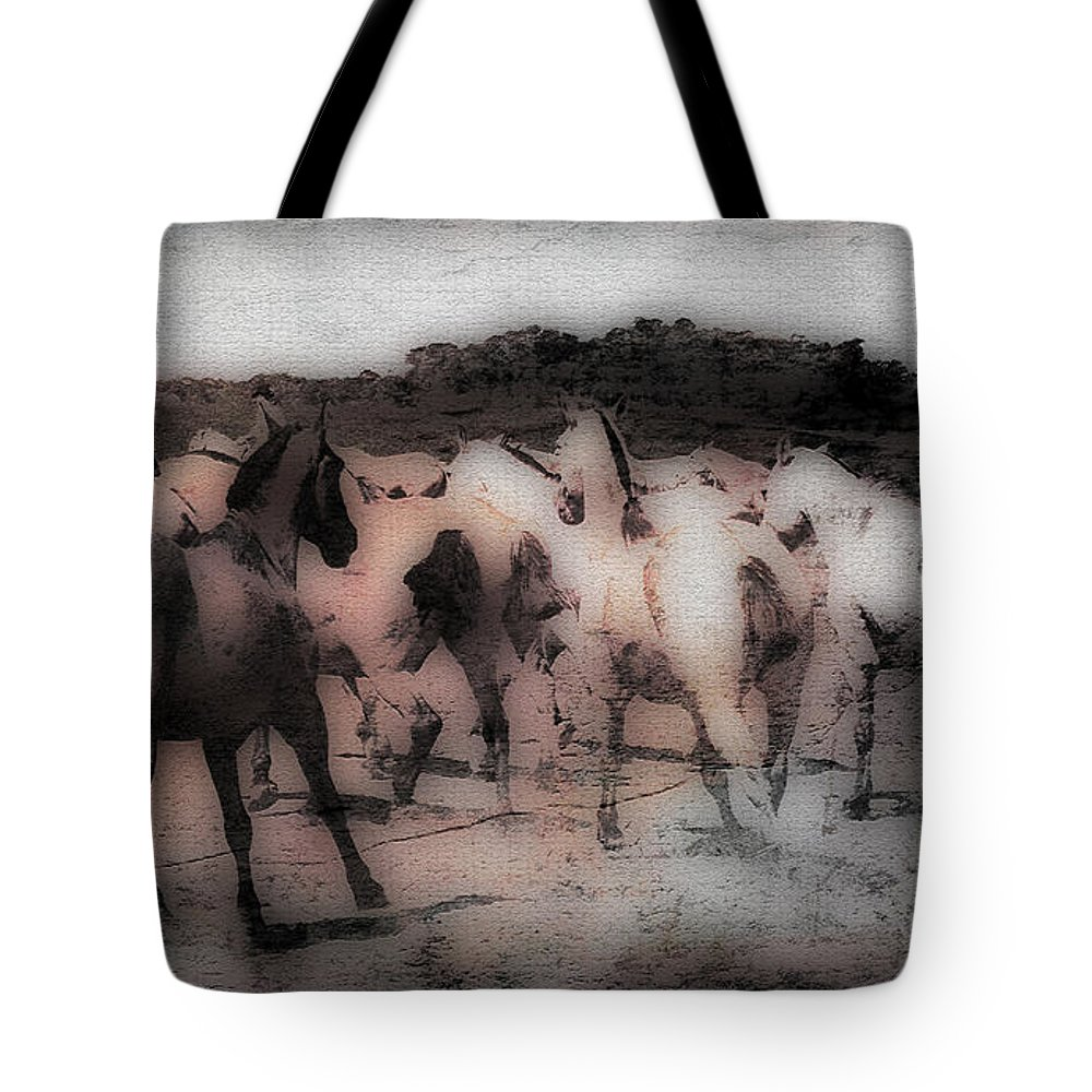 Horse Tote Bag featuring the photograph Evening Roundup - Featured In Comfortable Art Group by Ericamaxine Price
