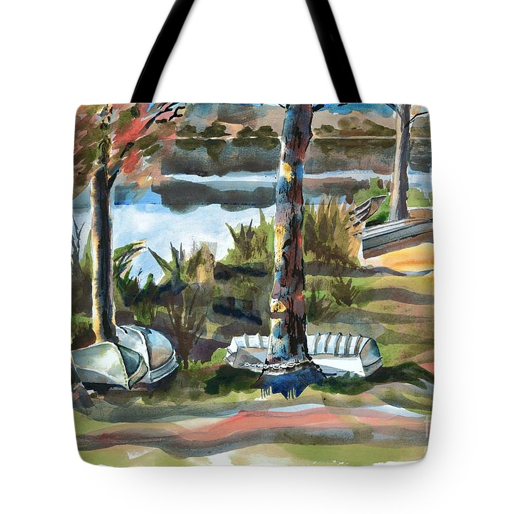 Evening Shadows At Shepherd Mountain Lake No W101 Tote Bag featuring the painting Evening Shadows at Shepherd Mountain Lake No W101 by Kip DeVore