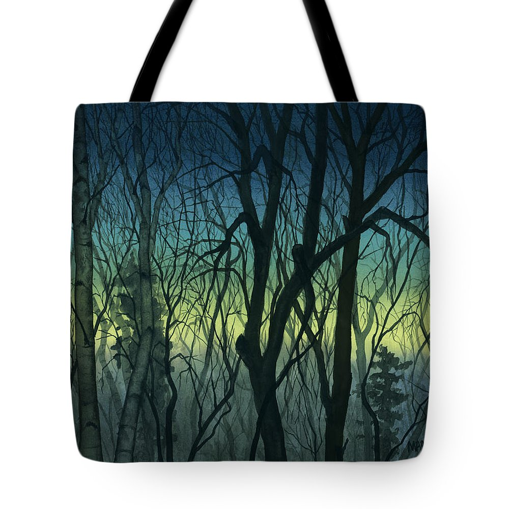Blue Tote Bag featuring the painting Evening Stand by Mary Tuomi