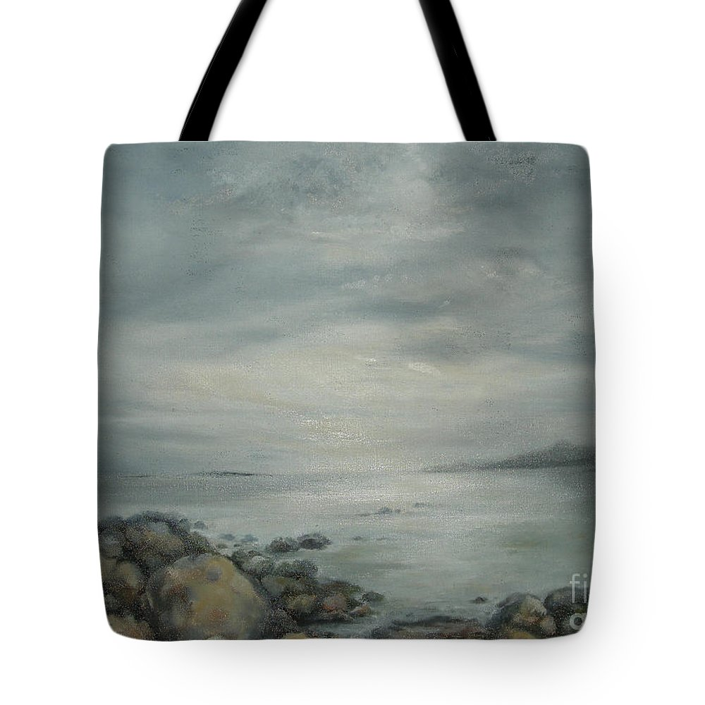 Ocean Tote Bag featuring the painting Evening Sunlight On The Bay by Kathryn Dalziel