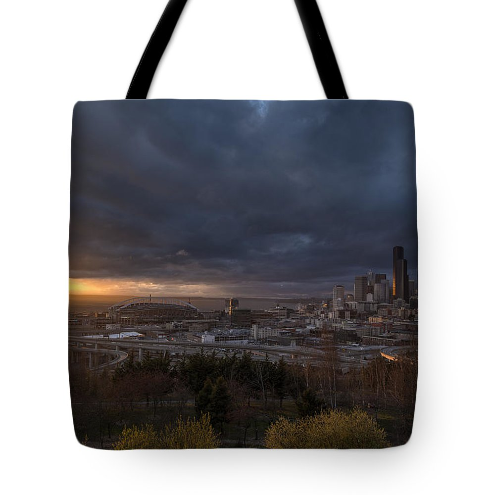 Seattle Tote Bag featuring the photograph Evening Sunlit Seattle Skyline by Mike Reid