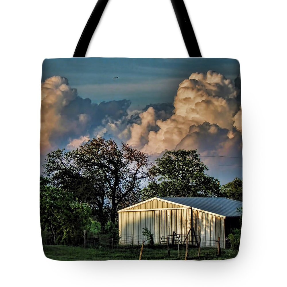 Clouds Tote Bag featuring the photograph Evening Thunderstorms by Shannon Story