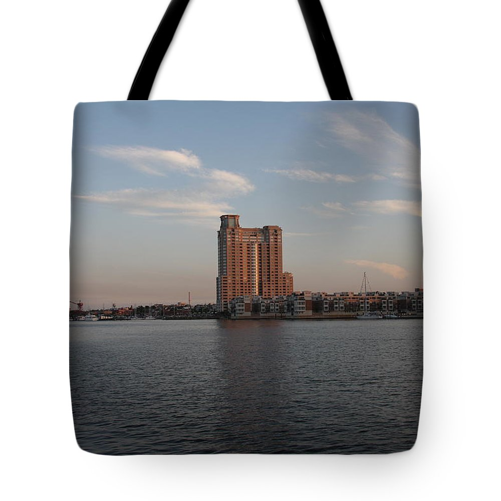 Habor Tote Bag featuring the photograph Eveninglight Baltimore Inner Harbor by Christiane Schulze Art And Photography