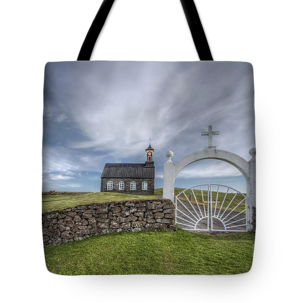 Hvalsneskirkja Tote Bag featuring the photograph Ever Enchanted by Evelina Kremsdorf