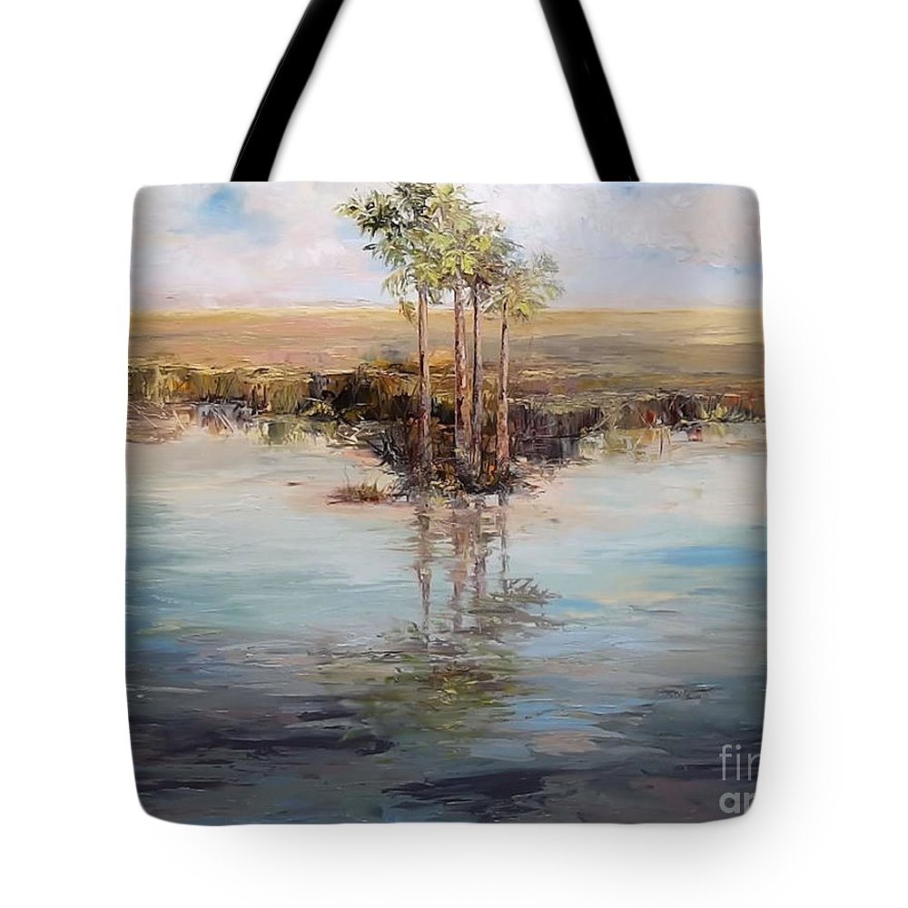 Florida Tote Bag featuring the painting Everglade Palms by Jan Ellen Atkielski