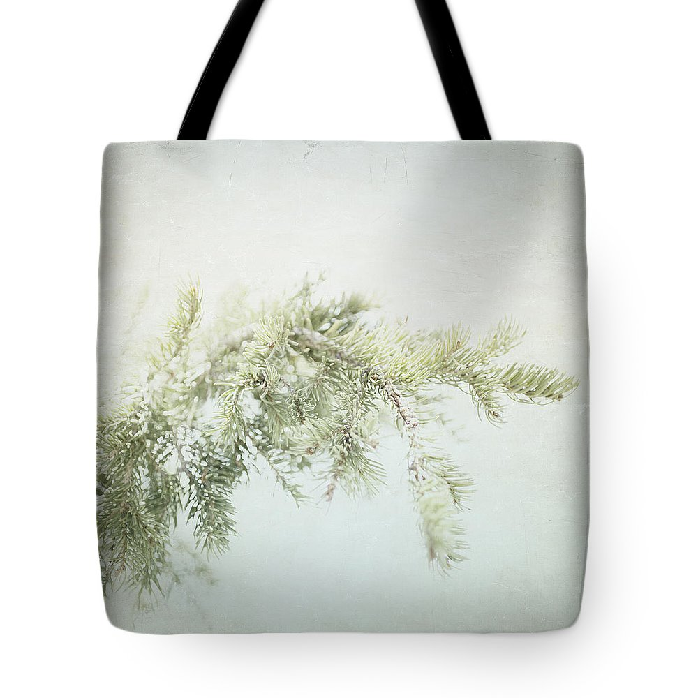Rustic Wall Art Tote Bag featuring the photograph Evergreen - Square by Lisa Parrish