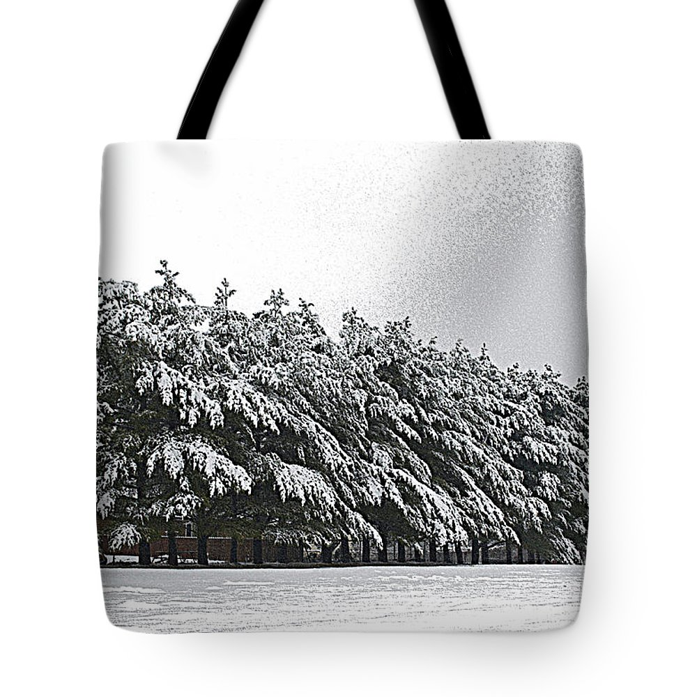 Illinois Tote Bag featuring the photograph Evergreens In Snow by Luther Fine Art