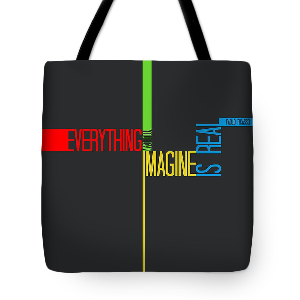 Tote Bag featuring the digital art Everything You Imagine Poster by Naxart Studio