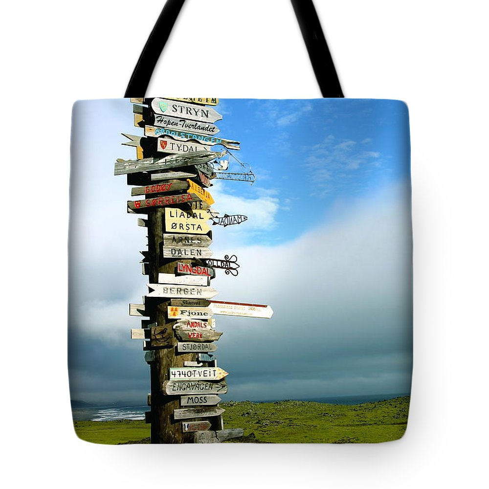 Sign Tote Bag featuring the photograph Everywhere But Here by Patz Turner
