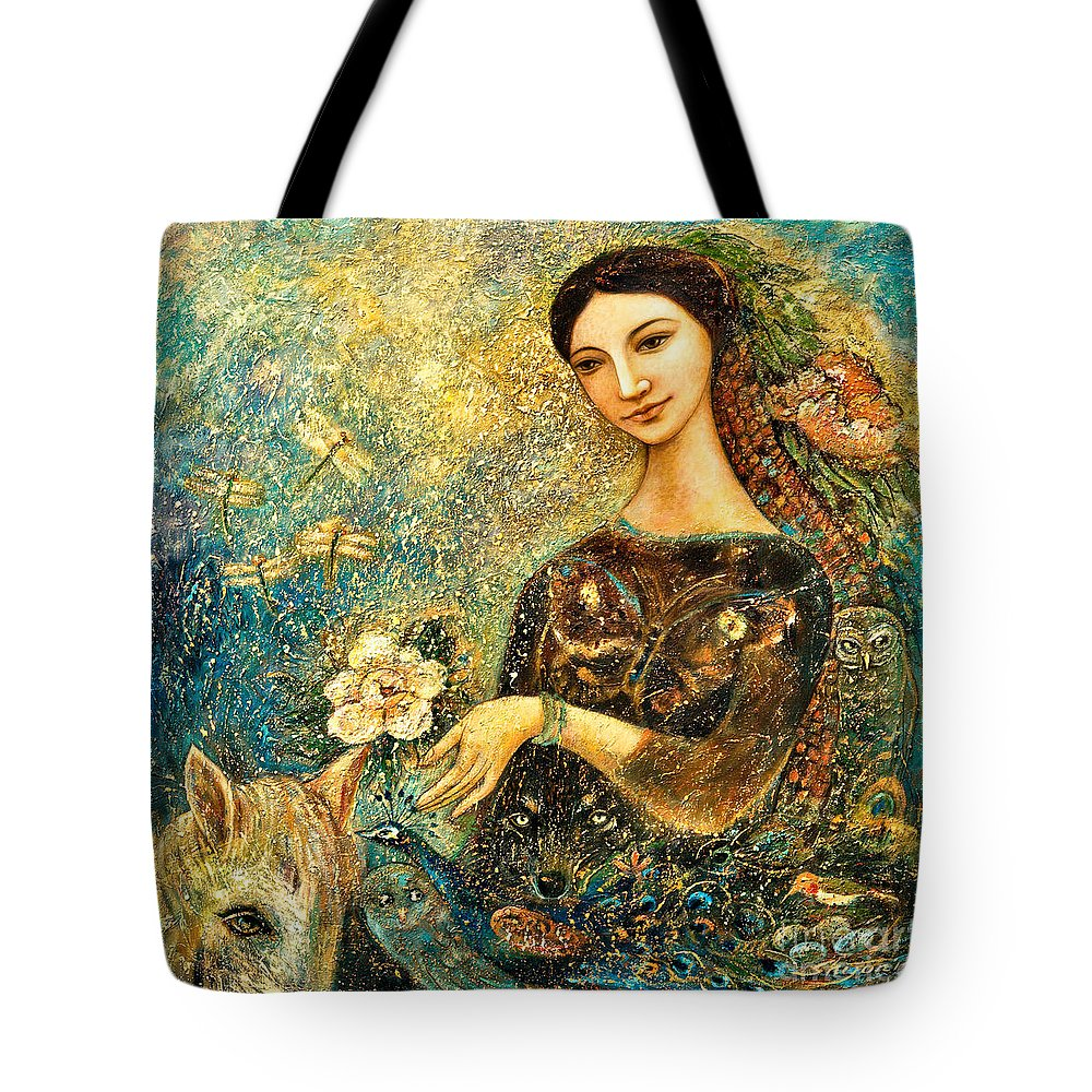 Eve Tote Bag featuring the painting Eve's Orchard by Shijun Munns
