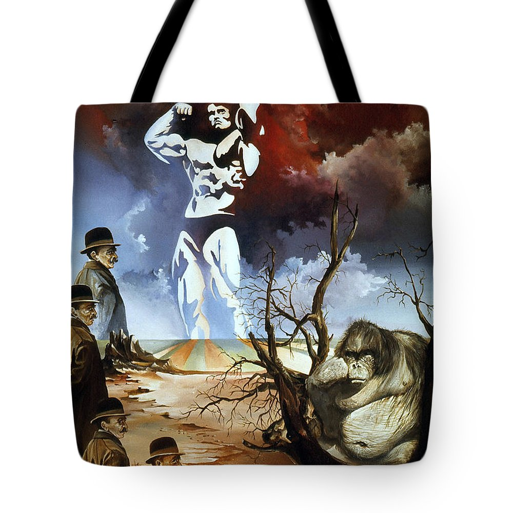 Surrealism Tote Bag featuring the painting Evolution by Otto Rapp