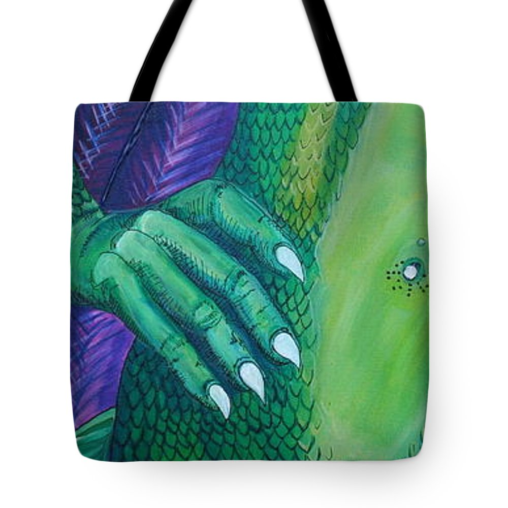 Dragon Tote Bag featuring the painting Evolve by Kate Fortin