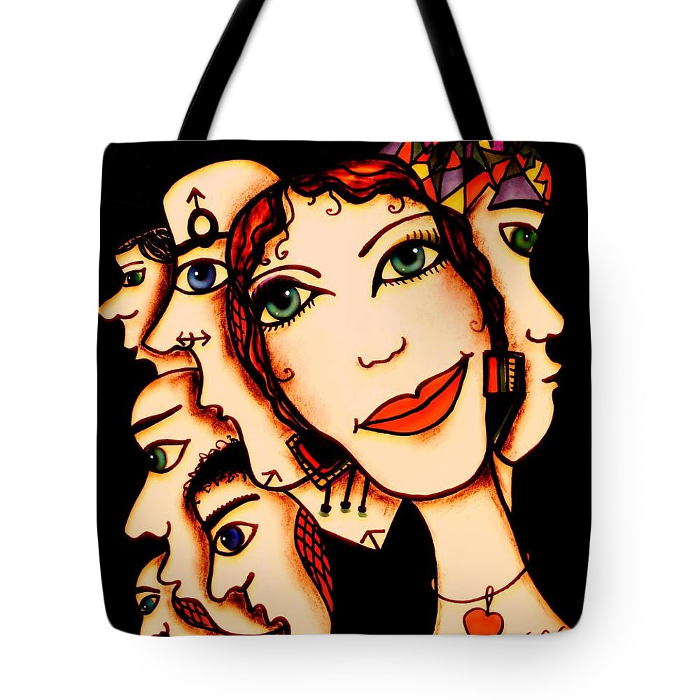 Woman Tote Bag featuring the painting Ex-boyfriends by Natalie Holland