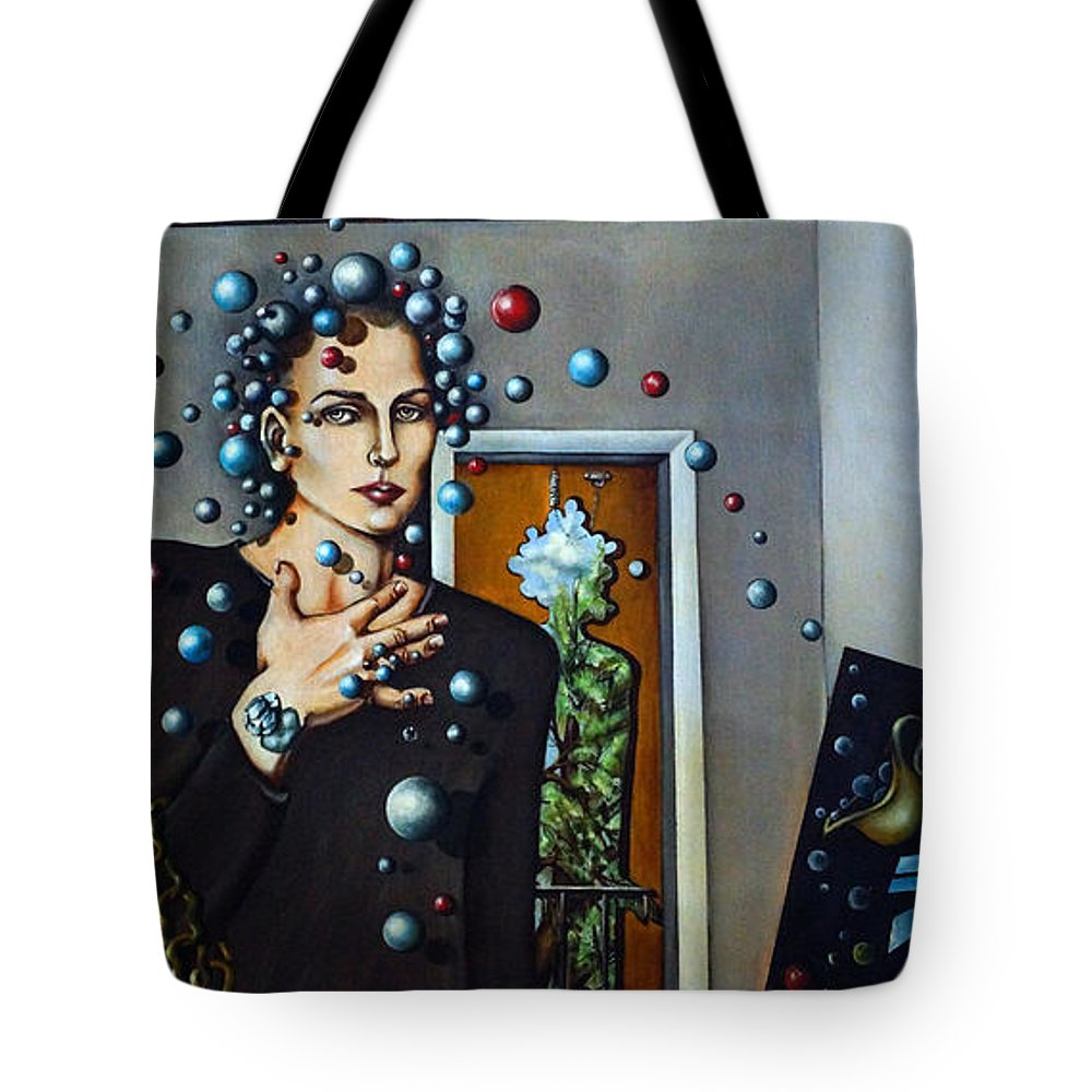 Surreal Tote Bag featuring the painting Existential Thought by Valerie Vescovi