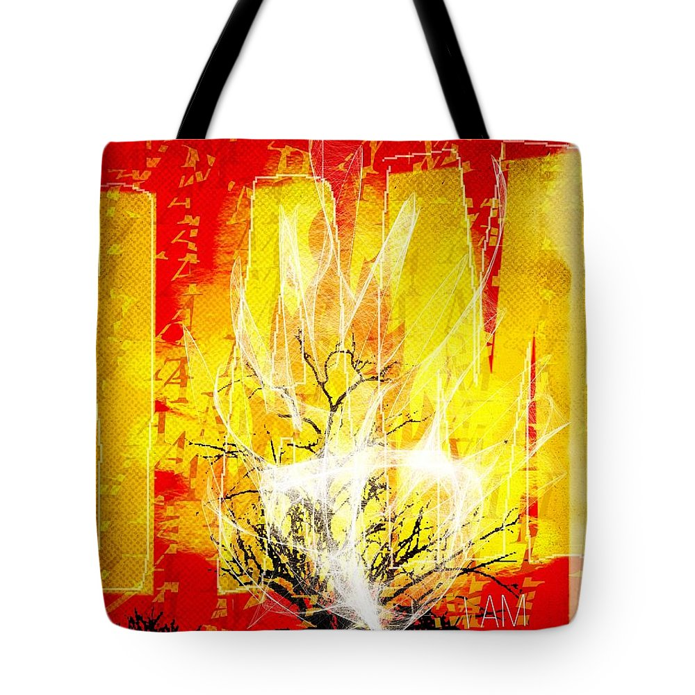 Art Tote Bag featuring the digital art Exodus I Am by Mike Brennan