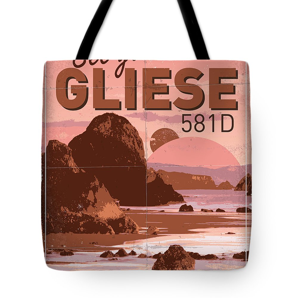 Space Tote Bag featuring the digital art Exoplanet 01 Travel Poster Gliese 581 by Chungkong Art