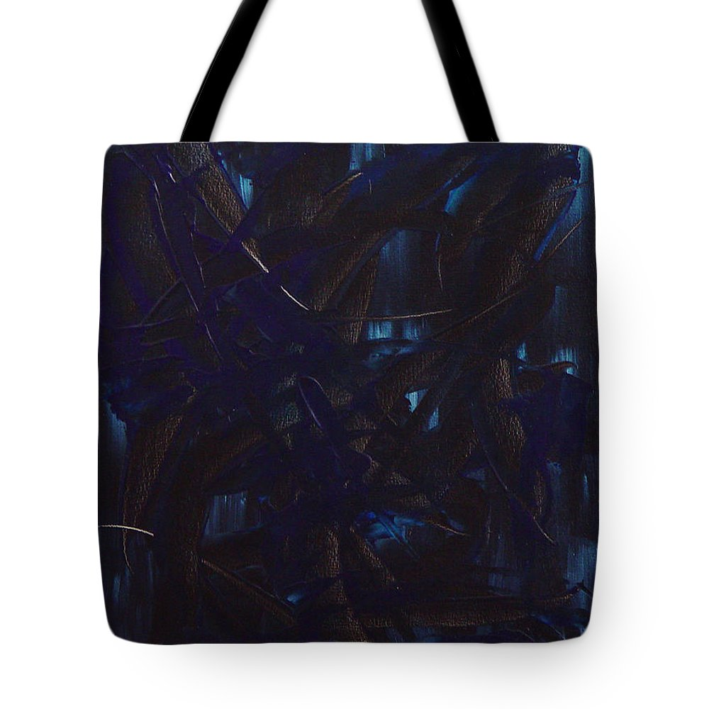 Abstract Tote Bag featuring the painting Expectations Blue by Dean Triolo
