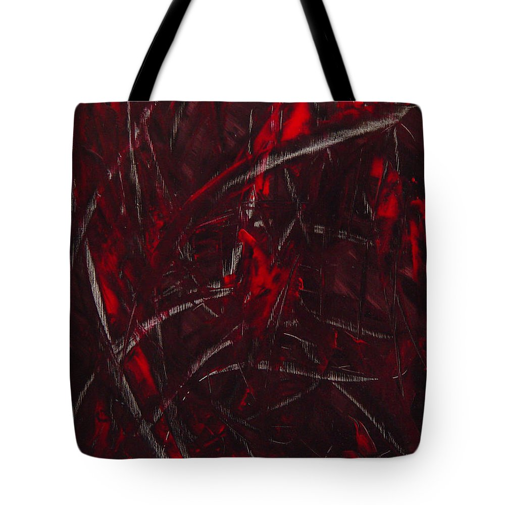 Abstract Tote Bag featuring the painting Expectations Red by Dean Triolo