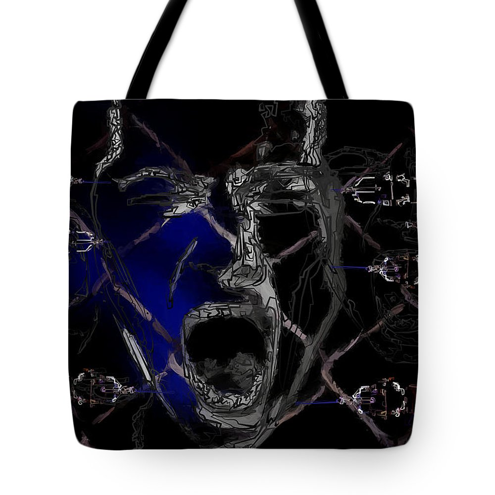 Experiment Tote Bag featuring the painting Experiment by Daniel Blackbird