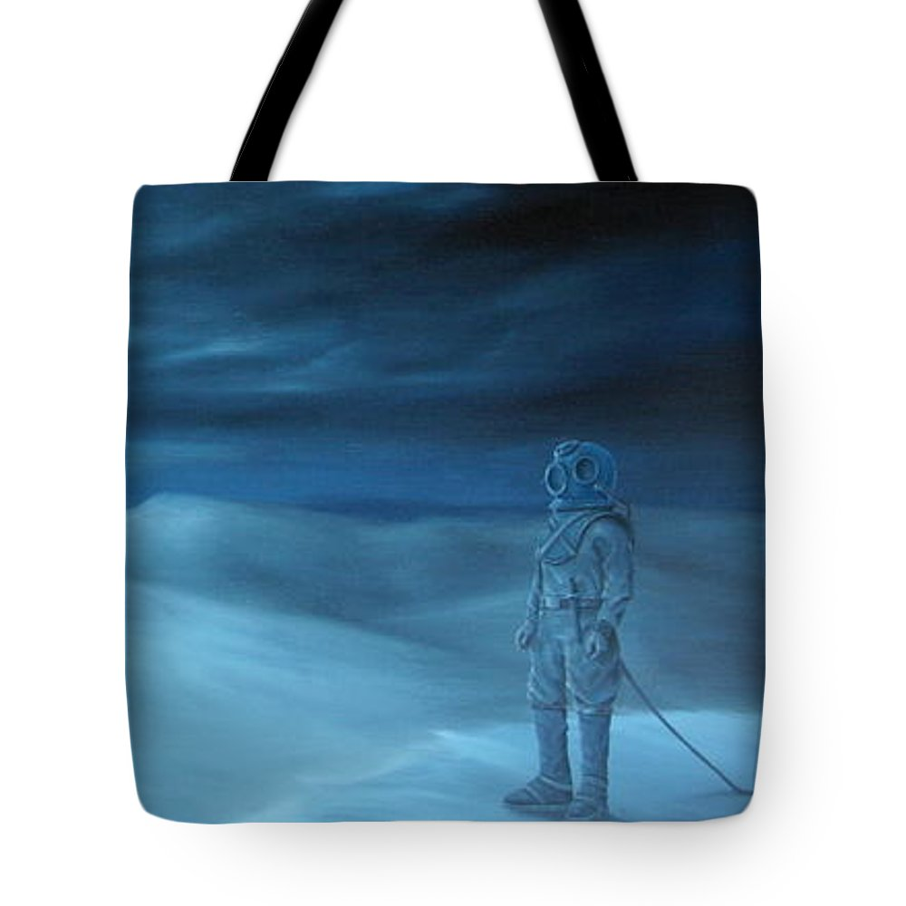 Canvas Print Dessert Landscapes Surreal Surrealism Pirate Ship Boat Dark Mystic Oilpaint Transportation Fantasy Tote Bag featuring the painting Explorers by Michel Sehstedt