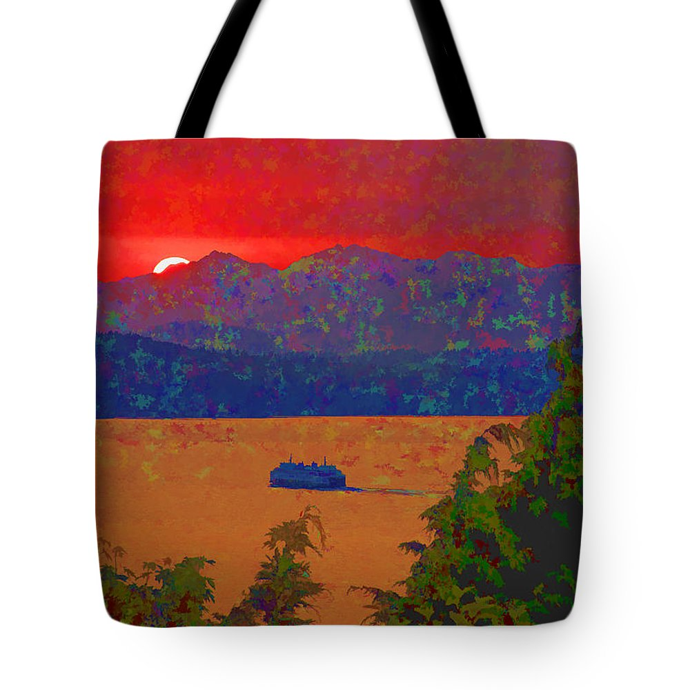 Puget Sound Tote Bag featuring the photograph Extreme Sunset by David Gleeson