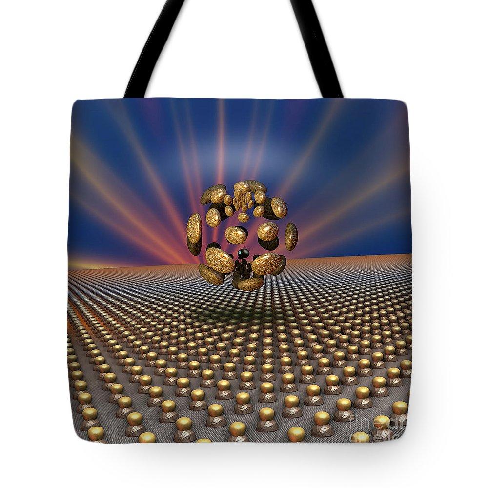 Art Tote Bag featuring the digital art 'eye' Of Conformity by Peter R Nicholls