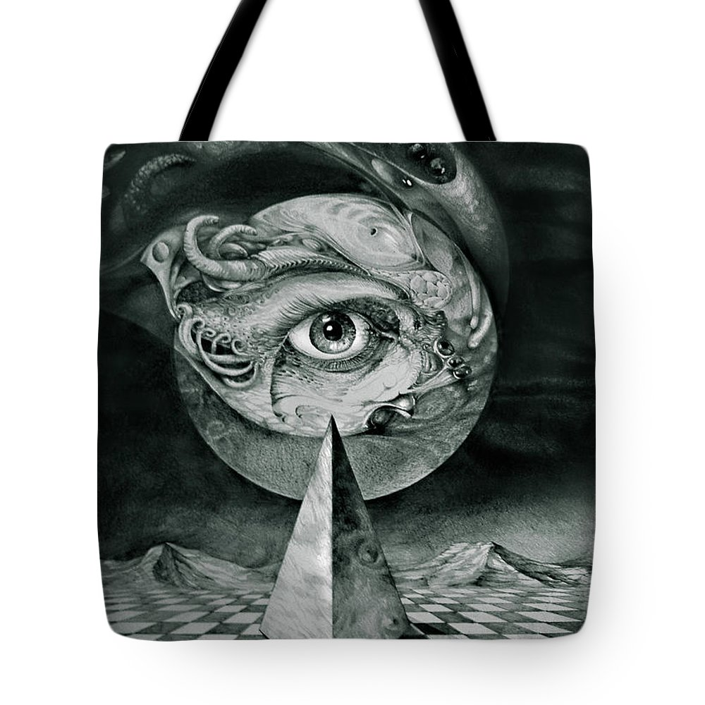 otto Rapp Surrealism Tote Bag featuring the drawing Eye Of The Dark Star by Otto Rapp