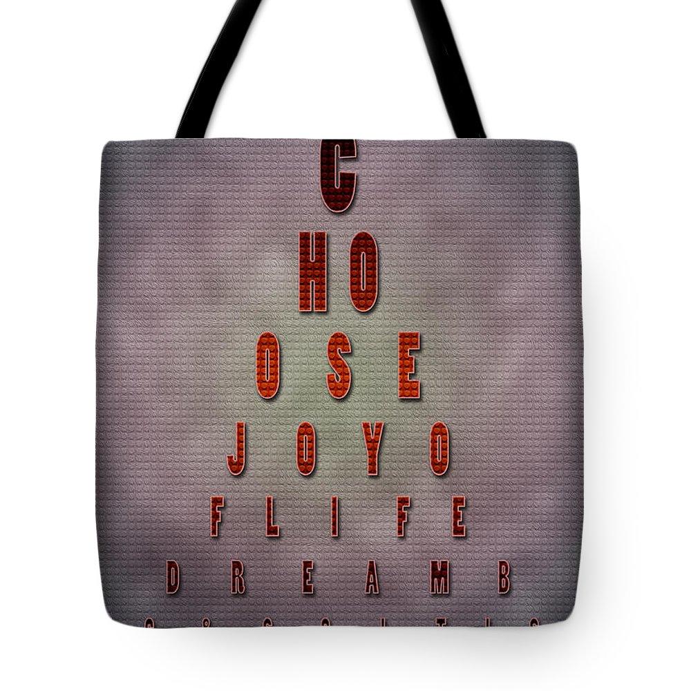 Inspiring Words Tote Bag featuring the painting Eyechart Inspiring Typography Art by Georgeta Blanaru