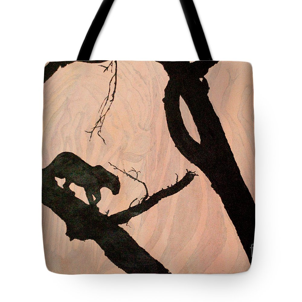 Panther Tote Bag featuring the painting Eyeing The Panther by Paulette B Wright