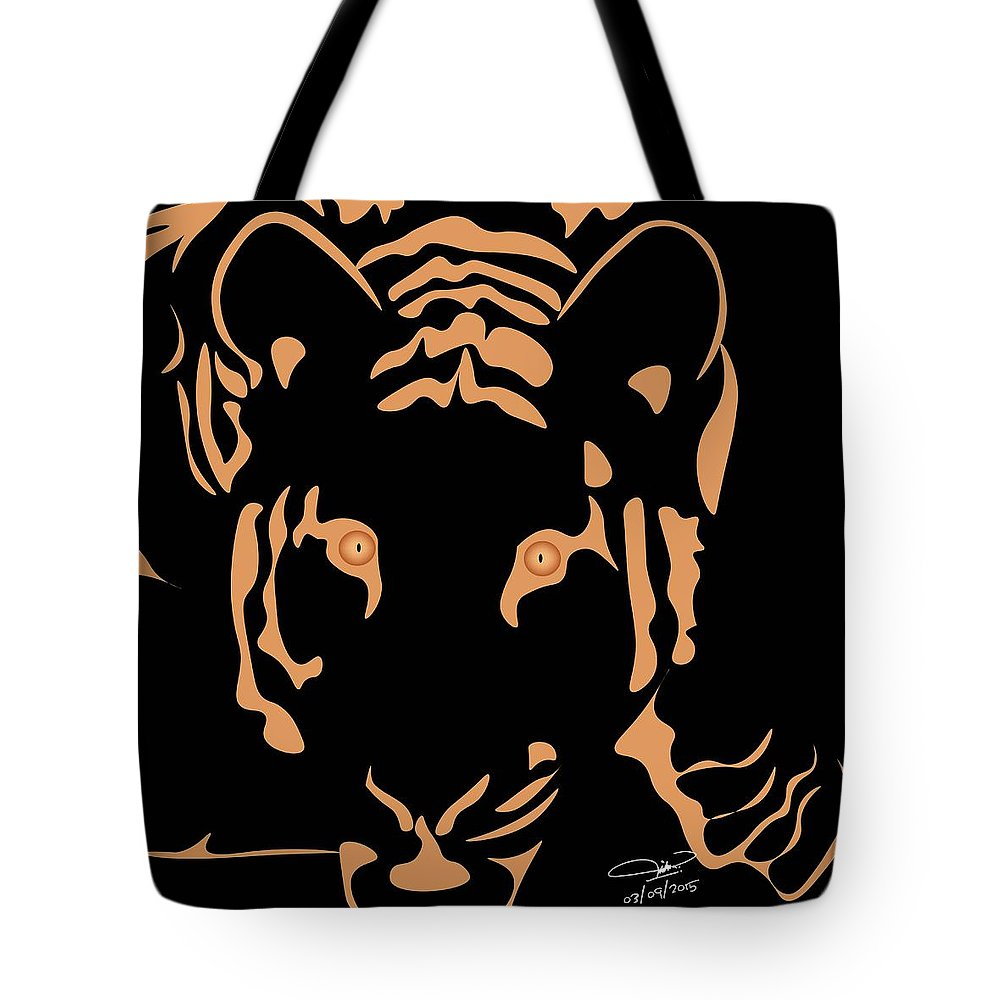 Tiger Tote Bag featuring the digital art Eyes Of A Tiger 3 by Hope Linton