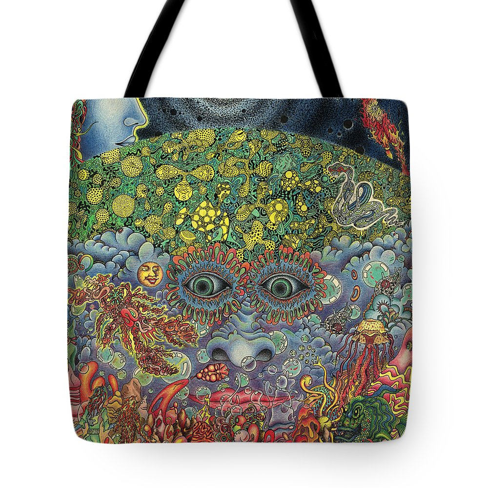 Psychedelic Tote Bag featuring the drawing Eyes Of The Mind by Jeff Hopp