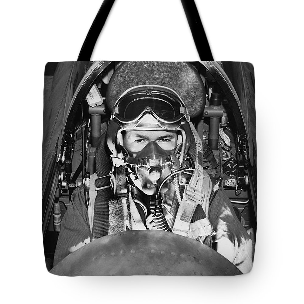 1 Person Tote Bag featuring the photograph F-84 Thunderjet Pilot by Underwood Archives