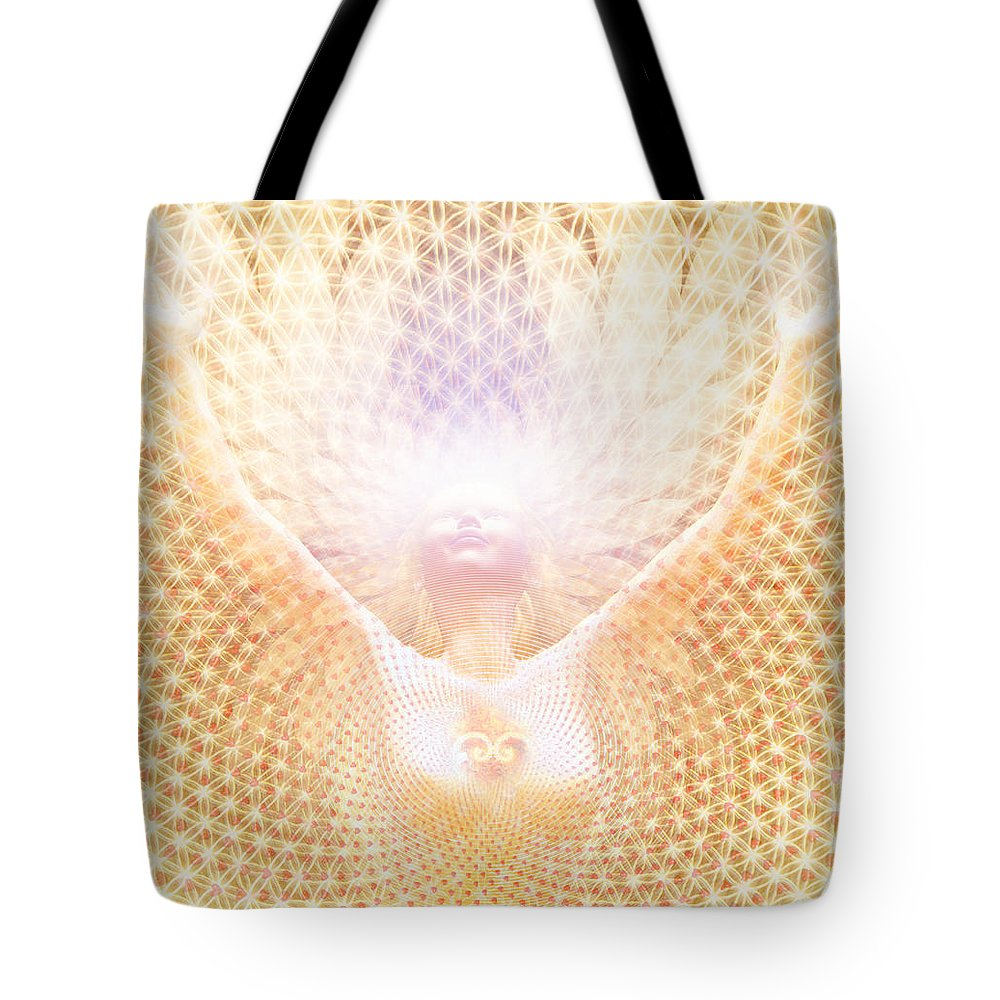 Sacred Art Tote Bag featuring the painting Fabric Of Life by Robby Donaghey