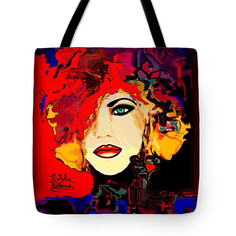 Face Tote Bag featuring the mixed media Face 14 by Natalie Holland