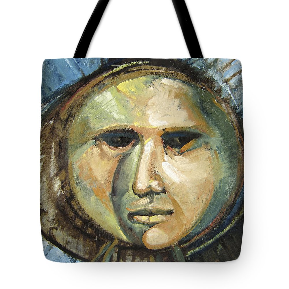Mask Tote Bag featuring the painting Faced With Blue by Randy Wollenmann