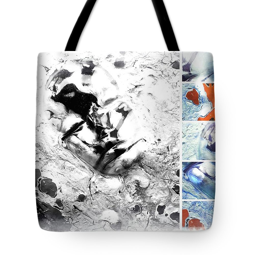 Faces Tote Bag featuring the painting Faces 6 by Lady Ex