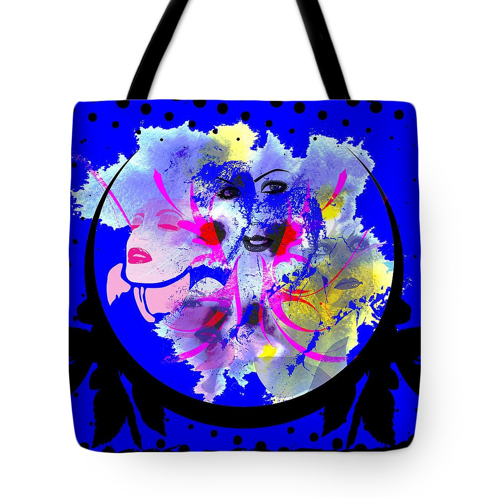 Face Tote Bag featuring the digital art Faces by Michael Damiani