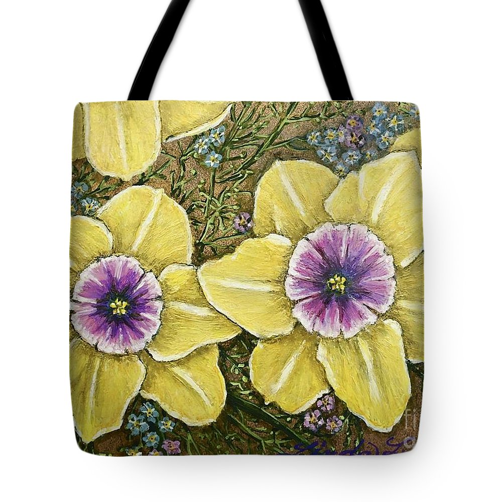 Flowers Tote Bag featuring the pastel Faces Of Spring  by Linda Simon